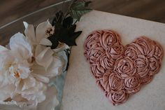 Floral Wall Hangs, Satin Rose Heart Wall Decoration, Props for a pregnancy announcement