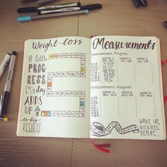 "49 Likes, 3 Comments - Jaime Ripley (@therookiewife) on Instagram: ""Weight loss and measurement pages. #bulletjournal #bulletjournalling #bujo #bujojunkie #bujoaddict…"""