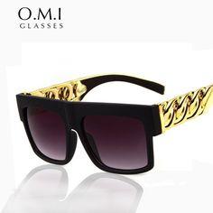 OMI Kim Kardashian Sunglasses Beyonce Celebrities Style Flat Top Oculo Retro Men Women Glasses Gold Chain Twisted Riskier OM1(China (Mainland))