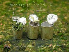 Evangelione: < Miniature> Rustic can flower pot tutorial