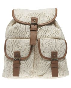 Cute is always in session so keep it boho with this backpack features a crochet overlay with contrasting faux leather trim throughout. It includes adjustable faux leather straps and adjustable drawcords around the bag entrance. The exterior has two front pockets that close with a snap button detail and a top flap that folds over with a faux leather strap that dangles off and snaps into place at the magnetic button. The backpack can also be cinched tight with the drawcords while the ...