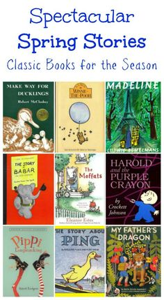 Read aloud stories and classic books for kids! A great list of vintage children's picture and chapter books that remind us of adventure and spring! Spring Activities, Read Aloud Books, Good Books, My Fathers Dragon, Preschool Books, Best Books For Kindergarteners, Kindergarten Books, Spring Books