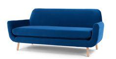 Jonah 3-Sitzer-Sofa, kobaltblauer Samt