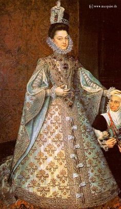 Gown with cartwheel ruff, stomacher, slashed sleeves. Infanta Isabella Clara Eugenia by de Llano, c.1580