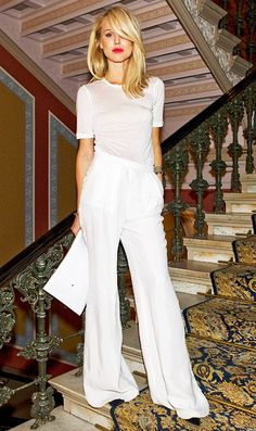 simple & elegant in white #white, #pants, #fashion, #blonde, #model #classy