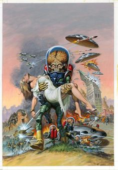 Earl Norem, age painted this stunning cover for the upcoming issue of Classics Obliterated. See more of Norem's work here. June 2013 Mars Attacks (Via Duane Swierczynski) Sci Fi Horror, Arte Horror, Horror Art, Sci Fi Comics, Horror Comics, Classic Sci Fi, Classic Comics, Aliens, Comics Vintage