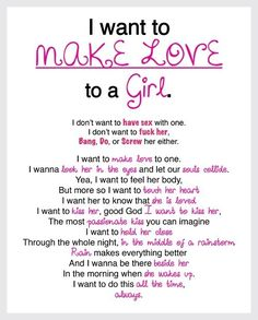 I want to make love to a girl
