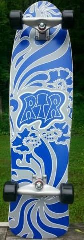 RTR Floral, Classic Wing old school complete skateboard,  including Carver wheels.