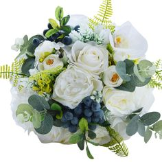Zebratown 10'' Countryside Fruits Artificial Bridal Bouquet White Rose Artificial Bulk Wedding Bouquets for Bridesmaids Throw Wedding Flowers (White) ** Read more reviews of the product by visiting the link on the image. (This is an affiliate link) #HomeDecor