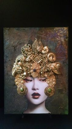 Photo of Asian Lady, On a Painted Canvas Board, Vintage Jewelry, Brooches, Earrings ,Necklaces, Charms ,Filigrees.