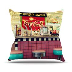"Sylvia Cook ""Retro Diner"" Coca Cola Outdoor Throw Pillow | KESS InHouse"