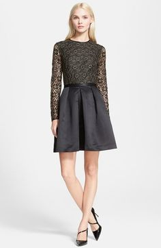 Ted Baker London 'Freeya' Lace Bodice Fit & Flare Dress with sheer lace overlay sleeves.