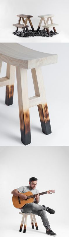 'The Burnt Stool's' aesthetic is truly unique because in a world dominated by gloss, matte, metallic finishes, no one ever tried using the burnt finish as an  aesthetic detail... READ MORE at Yanko Design !