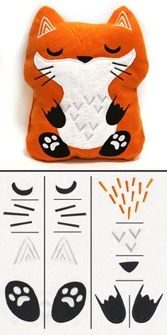 """Combine cute embroidery details with basic construction to create an adorable plush fox, approximately 13 x 15.5"""" tall! Get the fabric pattern PDF and assembly details by following the link to the Project Instructions. Stitch count listed is for all pieces together."""
