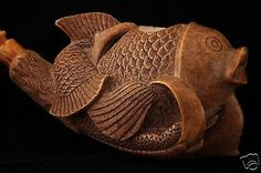 Koi Fish in Claw Hand Carved by Baglan Block Meerschaum Pipe in chest case 6028