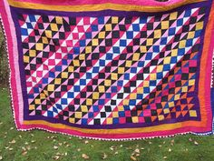 Zingy Colors. Sindhi Patchwork Ralli Quilt.  Hand made. From Pakistan.