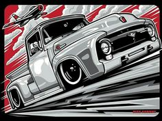 60 Ideas Vintage Truck Art Autos For 2019 Cool Car Drawings, Truck Art, Road Rage, Ford Classic Cars, Car Illustration, Car Posters, Vw T1, Volkswagen, Car Sketch