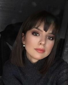 Short Bob Hairstyles with Bangs Short Dark Hair, Short Hair With Bangs, Short Hair Cuts, Bob Hairstyles With Bangs, Short Bob Haircuts, Medium Hair Styles, Short Hair Styles, Pinterest Hair, Dream Hair
