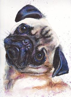 Original-Aquarell-Tierportrait-Mops-Hund-dog-pug-su-art