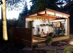 This unconventional prefab outbuilding can be wired home with electricity to hook up work out equipment, TVs, and more