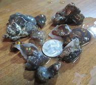 Mexican Fire Agate Rough 11 stones 3 ounces of pre-cut rough fire showing ..-.