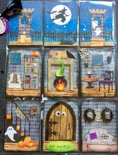 My Halloween pocket letter for Carri. For some reason, I decided to make it double-sided, ha ha. Tons of die cuts in this one. Pocket Pal, Pocket Cards, Diy Letters, Pocket Letters, Halloween Items, Halloween Cards, Project Life, Scrapbook Room Organization, Halloween Shadow Box
