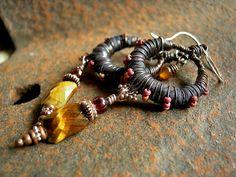Exotic Gypsy Earrings, Black Silk Wrap, Tiger Eye & Garnet, Fall Colors, Boho Luxe by Elksong Jewelry