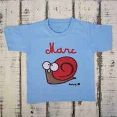 Camiseta niño manga corta caracol con tu nombre - Marketplace social de tiendas para niños de 0 a 14 años