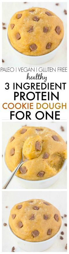 Healthy 3 Ingredient Vanilla Protein Cookie Dough for ONE- Easy, quick and delicious and LOW carb, sugar free and with everyday ingredients! {vegan, gluten free, paleo recipe}- thebigmansworld.com