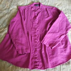 Beautiful linen button down blouse This top is from Chadwicks and had pleating down the front Chadwicks Tops Blouses