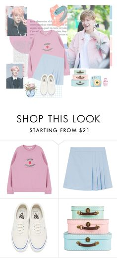 """Kihyun (pink & blue)"" by sahiarat ❤ liked on Polyvore featuring Oris, Vans, Polaroid and LSA International"
