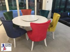 How's this for a Multi Colour Swapshop? Lovely Quartz dining table with functional Lazy Susan. All chairs from our tall Cara range, covered in fabric colours from the client's stripey sofa. Lazy Susan, Dining Chairs, Quartz, Sofa, Range, Colours, Fabric, Furniture, Home Decor