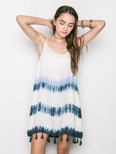 Tassel Trim Tie-Dye Dress from Irene