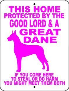GREAT DANE ALUMINUM DOG SIGN GLGDFMPK