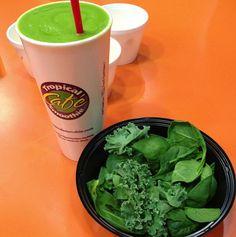 Island Green Smoothie (new smoothie, 220 calories)  7.5 oz. water  2 oz. turbinado sugar 4 oz. mango  4 oz. pineapple  1 half banana  1 oz. spinach leaves .5 oz. kale