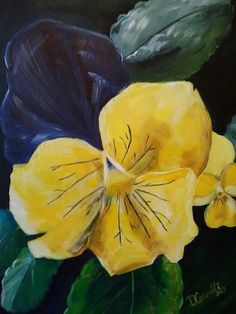 """Pretty Pansy. Inspired my the violas in my garden. Acrylic on 16""""x20"""" canvas."""