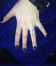 Black matt nail polish (CK + Opi Matt Coat) with shiny peaks (CK) Ghot hipster inspiration