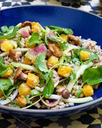 Farro with Butternut Squash and Pickled Chanterelles Recipe on Food & Wine