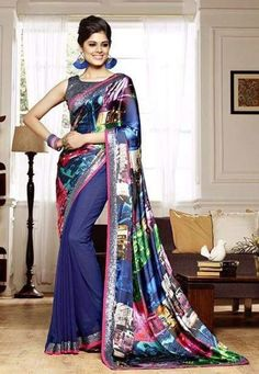 """""""Being a #woman is a terribly difficult trade since it consists principally of dealings with #men."""" Multi Color Net / Silk / Georgette Designer #Saree"""