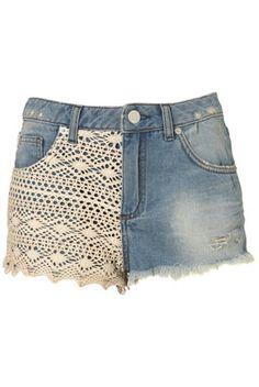 #DIY lace panel denim shorts. Orig price $68.00
