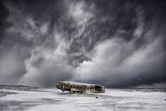 The DC in decay - In 1973 a United States Navy DC plane ran out of fuel and crashed on the black beach at Sólheimasandur, in the South Coast of Iceland. The remains lie starklyl on the sand very close to the sea.