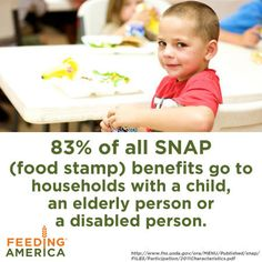 83% of all food stamp benefits go to households with a child, an elderly person or a disabled person.  Great infographic from @Feeding America.