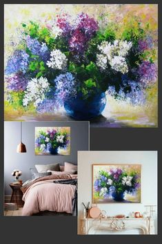 Lilac painting for bedroom wall decor art canvases.Flower painting acrylic lilac. #betulapainting #acryliconcanvas #bedroomdecor #lilac