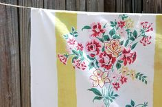 for tables...mix and match vintage table cloths...got one just like this one!!
