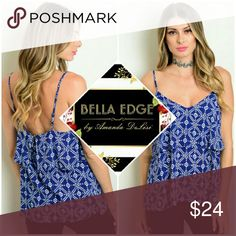 🆕 Royal blue tier tank top 100% RAYON. Perfect under blazers! This spaghetti strap top features royal blue with white accent. Adjustable straps. Sizes small to large. Bella Edge Boutique Tops Tank Tops
