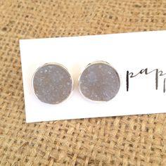 Light grey stone stud earrings