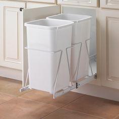 Door Recycler Double Bin Trash Can - White by Knape