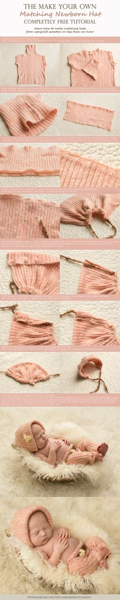"""newborn hat tutorial. There are many different ways to make matching hats. This one just seemed easiest from this particular sweater."" via @Stephanie Close Robin Photography - http://www.stephanierobin.ca/blog/"