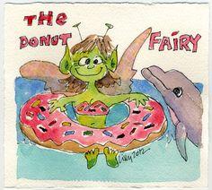 The Donut Fairy & Dolphin Cute Funny Faerie Cartoon Art by Lillyarts NFAC OOAK