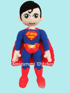 Welcome to AmigurumiWitches Pattern Store This listing is a crochet amigurumi pattern, NOT the finished toy. - Pattern includes only Superman inspired doll pattern - Finished size of the doll: approx. 40 cm - This pattern is a pdf file with detailed instructions and includes plenty